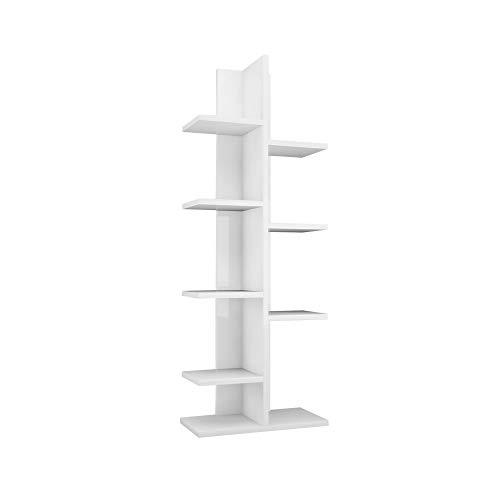 Homemania Libreria Sarmasik, Legno, Bianco, 45x21,7x120,8 cm