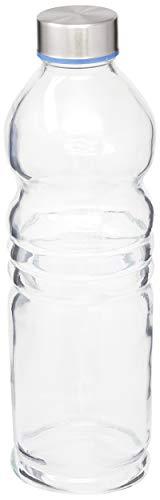 Garrafa 1 litro H2O de Vidro transparente, VDR7243, Euro Home