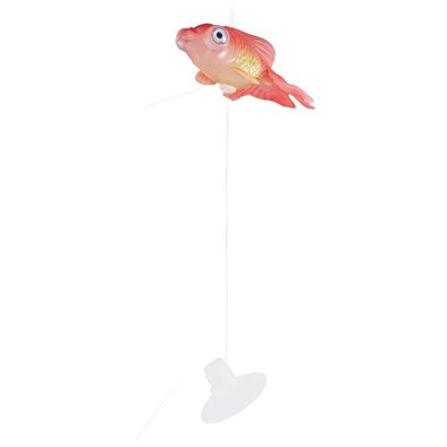 SODIAL(R) Gummi-Goldfisch Aquarium Kleine Saugnapf Kuenstlich Schwimmende Goldfisch Ornament Rot