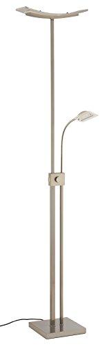 Briloner Leuchten LED Stehleuchte, Stehlampe, Fluter 14W, 1600lm, inkl. Drehdimmer, stufenlos dimmbar, Lesearm nicht dimmbar, inkl. Schalter AN/AUS, flexibel, matt-nickel 1273-022