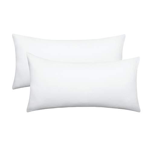 eletecpro Kissenbezug 40x80cm 2er Pack Weiß, 100% Mikrofaser Kissenhüllen mit Hotelverschluß, Bettkissenbezug Super weich, Farbechte,Hypoallergen, Hautfreundlich Kissen Bezug, in großer Farbauswahl