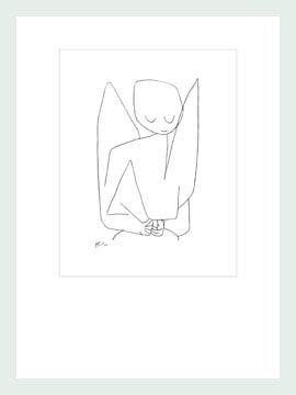 Bild mit Rahmen Paul Klee - Vergesslicher Engel - Digitaldruck - Holz silber, 70 x 93.1cm - Premiumqualität - Zeichnung, Engel, Himmelswesen, Expressionismus, Klassische Moderne, Büro, Wohnzimme.. - MADE IN GERMANY - ART-GALERIE-SHOPde