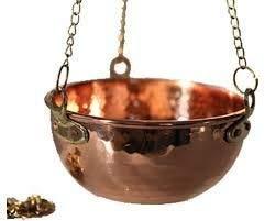SudoreWell® Sauna Kupferschale/Kräuterschale aus Kupfer 1,0 l mit Kette