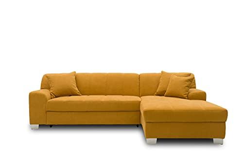 DOMO collection Capri Ecksofa | Eckcouch in L-Form mit Schlaffunktion, Polsterecke Schlafsofa, mango gelb, 239x152x75 cm