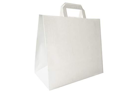 Carte Dozio - Shopper in Kraft con fondo quadro, color Bianco, maniglia piatta, f.to cm 32+17x29, cf 25 pz