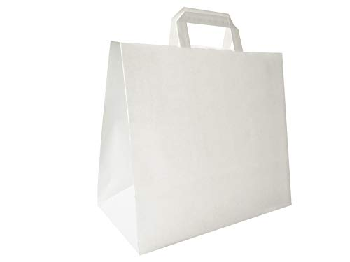 Carte Dozio - Shopper in Kraft con fondo quadro, color Bianco, maniglia piatta, f.to cm 32+17x29, cf 25 pz