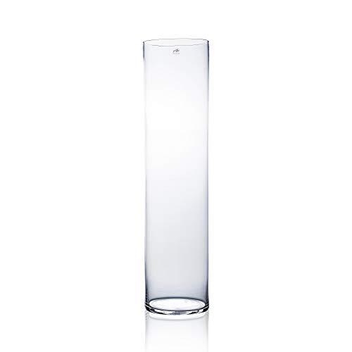 CRISTALICA Glasvase Dekovase Zylindervase rund Transparent Glas Höhe 80cm