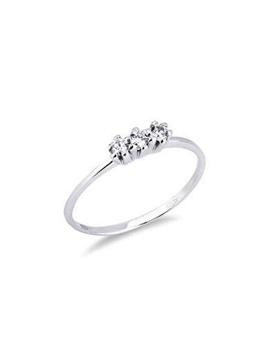 Gioielli di Valenza - Anello Trilogy in Oro bianco 18k con Diamanti - TR012BB - 9