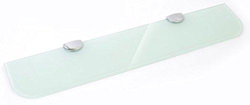 Estante de cristal blanco endurecido de 400 mm x 100 mm de grosor para baño, dormitorio, oficina, con gran acabado cromado