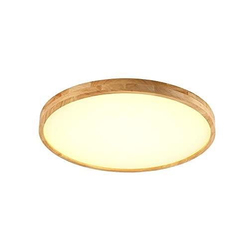 SDFDSSR Luz de Techo de Madera de Goma Creativa LED Lámpara de Techo súper Brillante Temperatura de Tres Colores en una Lámpara Plana Redonda Regulable para Dormitorio Infantil y Adolescente