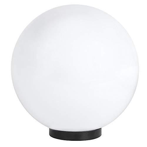 LHG Kugelleuchte Ø 30 cm | Kugel 230 Volt | Außenkugellampe IP44 | Gartenlampe E27 | Dekoleuchte Außenbereich | Kugellampe mit Bodenplatte | Terrassenbeleuchtung weiß