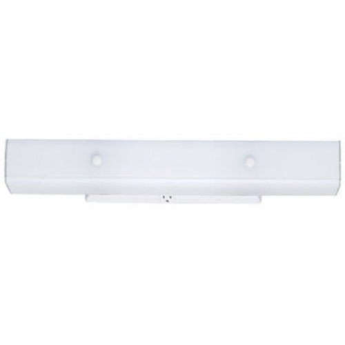 Westinghouse 6642400 Four-Light Interior Wall Fixture with Ground Convenience Outlet, White Finish Base with White Ceramic Glass