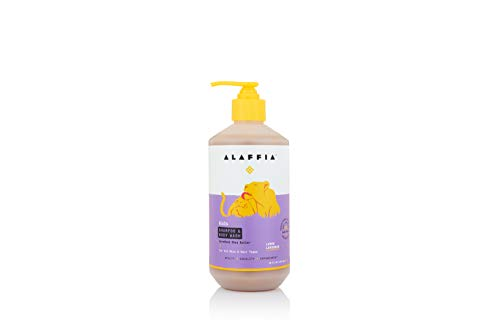 Alaffia  EveryDay Shea Shampoo and Body Wash Babies and Kids Gentle and Calming Support for Soft Hair and Skin with Shea Butter Neem and Coconut Oil Fair Trade Lemon Lavender 16 Ounces