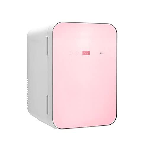 Nevera Pequeña Portatil 8 Litros, Bajo Consumo Mini Refrigerador, Frigorifico Pequeño Mantener caliente Funciones Enfriar y Calentar, Nevera Mini Cosmético Temperatura de Pantalla Dig (Rosado)