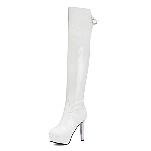Damen-OverkneeStiefel High Heels, Lange Stöckelschuhe Mit Runder Spitze Und Plateau, Damenschuhe Mit Seitlichem Reißverschluss Aus Lackleder (Color : White, Size : 33 EU)
