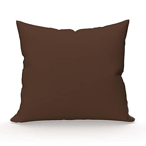 Soleil d'Ocre , Funda de almohada ATMO UNI, color chocolate, 63 x 63 cm