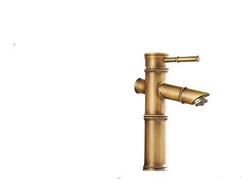 BFCGDXT retro grifo imitación bambú lavabo todo cobre grifo de agua fría y caliente.