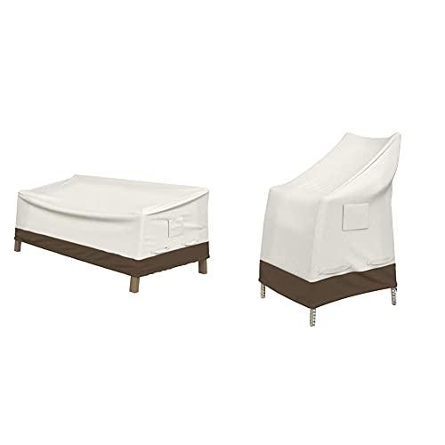Amazon Basics Abdeckung für tiefes 2-Sitzer-Loungesofa & Abdeckung für Gartenstuhl mit hoher Rückenlehne