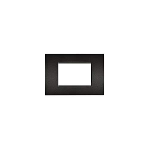 LineteckLED -LNT8003-2- Serie Completa di Placche per Interruttori Prese- Placca Nera 3M Compatibile living (Nera 3Posti)