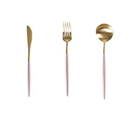 OUDEING Cutlery Set,Conjunto De Cubiertos De Bistec De Acero Inoxidable, Conjunto De Cubiertos De 24 Piezas, Servicio para 6 - Partido/Cocina-Rosa 18Pcs