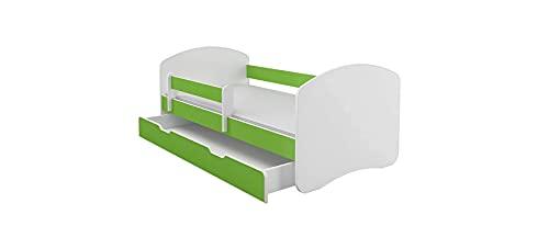 BDW Cama infantil con un cajón y colchón verde, 180 x 80 cm