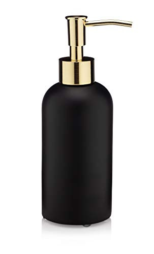 EssentraHome Matte Black Liquid Soap Dispenser with Metal Brushed Gold Pump for Bathroom, Bedroom or Kitchen. Great for Hand Lotions and Essential...