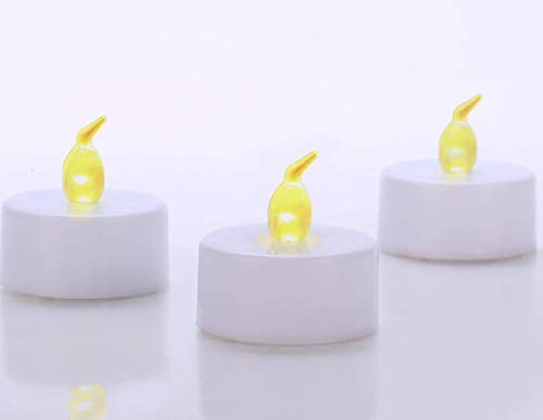 Tea Lights 24 Pack LED Flamless Candles 100H Battery Operated Tealights Warm Yellow Flickering Light for Wedding Party Diwail Halloween Decoration