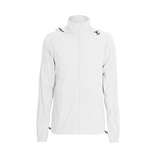 Women's UPF 50+ Sun Protection Jacket with Pockets Lightweight Packable Full Zip Hoodie White