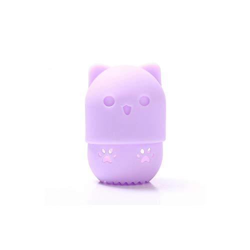Beauté Powder Puff porte mélangeur éponge maquillage oeuf séchage cas cosmétique en silicone souple portable Support Blender Case éponge,Purple