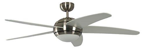 Pepeo Deckenventilator mit Beleuchtung und Fernbedienung Melton, Gehäuse Nickel, Flügelfarbe Weiß, 132 cm, für Räume bis zu 25m²