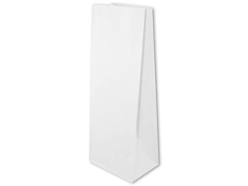 50 bolsas de papel, 12 x 9,5 x 32,5 cm, color blanco, bolsas de papel, bolsas de la compra, sin asas, bolsas de panadería
