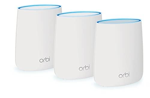 Netgear Orbi WiFi Mesh Triband AC2200, RBK23, Sistema WiFi Mesh, Velocità fino a 2.2 Gbps, Copertura fino a 375 m2, Kit da 3 con 1 Router e 2 Satelliti