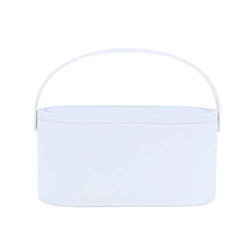 KIILING Caja Organizador de Maquillaje con Luces LED Pantalla táctil Caja de Maquillaje portátil con Espejo de Maquillaje Lámpara de Mesa Caja de Almacenamiento cosmético (Color : White)