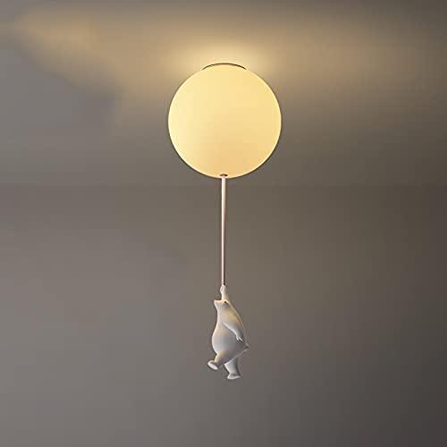 Lindo oso captura globo techo luz de techo historieta anime polar oso colgante lámpara blanca oso de peluche confesión lámpara de araña con sombra de vidrio caliente para niños dormitorio infantil Bal