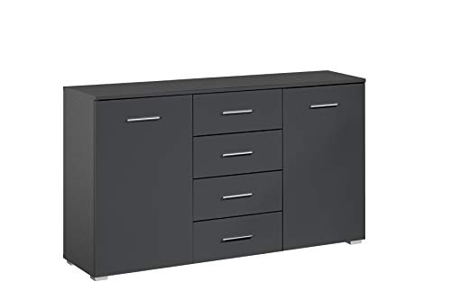 Rauch Möbel Flexx Schlafzimmer Kommode, Kommode 2-türig mit 4 Schubladen in Grau Metallic, BxHxT 140 x 81 x 42 cm