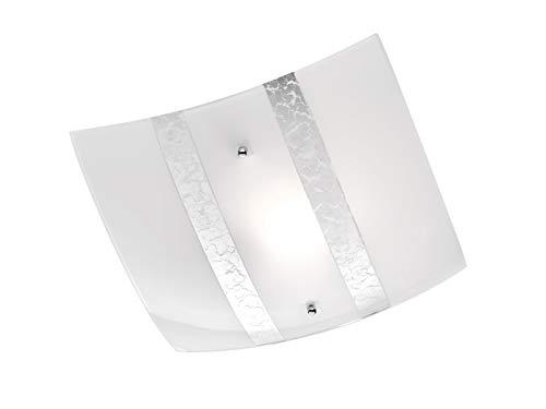 Exclusieve plafondlamp hoekig 30x30cm met gesatineerde lampenkap van glas in wit met zilverkleurige decoratieve strepen