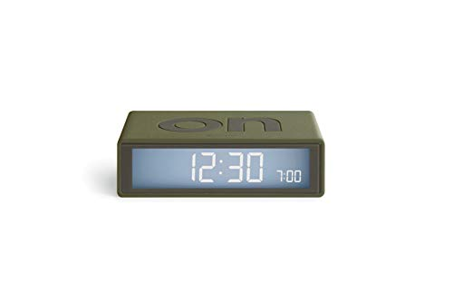 Lexon Flip Plus Travel Reversible LCD Alarm Clock Radio Controlled - Khaki