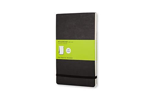 Moleskine -  Cuaderno Clásico con Páginas Lisas, Tapa Blanda y Goma Elástica, Color Negro, Tamaño Grande 13 x 21 cm, 240 Páginas