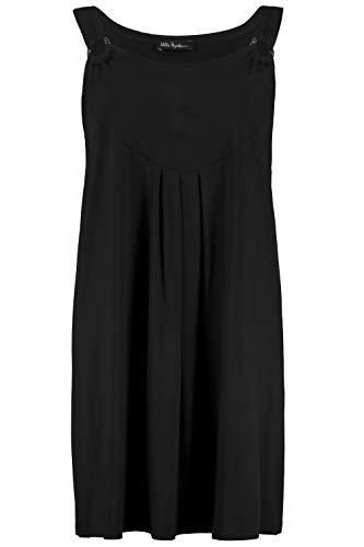 Ulla Popken Damen große Größen bis 64, Jerseykleid, drapierte Büste, Zierringe, Bequeme Passform, schwarz 54/56 722172 10-54+