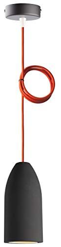 """Pendelleuchte aus Beton""""dark edition"""" mit Textilkabel""""Orange"""", incl. dimmbarem GU10 LED Leuchtmittel (austauschbar), 7,5 x 16 cm, 830g, Kabellänge 1,8 Meter (anpassbar), Beton-Lampe"""