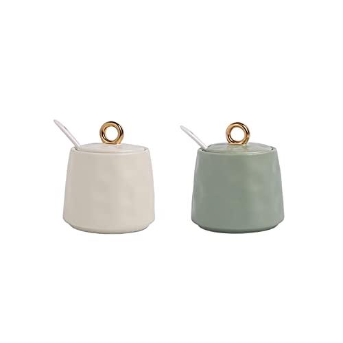 Hm Vicyy Juego de ollas de cerámica para condimentos,frascos para condimentos con Tapas y Cuchara,Frasco para condimentos de Cocina,frascos de cerámica para Especias (Blanco lechoso,Verde Claro)