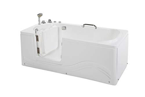 Supply24 since 2004 Senioren Whirlpool Badewanne für Altenpflege mit Armaturen Seniorenbadewanne mit 6 Massage Düsen Tür Wanne Spa Indoor/innen für Pflege (Linkseinstieg)