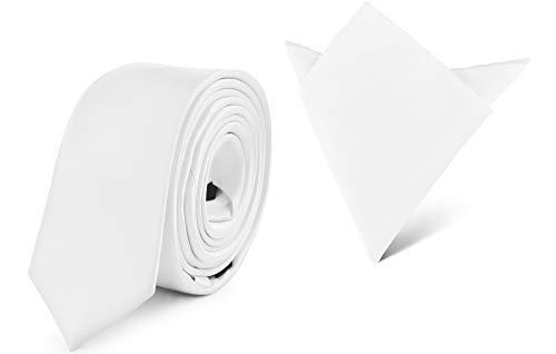 Ladeheid Herren Schmale Krawatte & Einstecktuch Set SP/P (150cm x 5cm, 22cm x 22cm, Weiß)