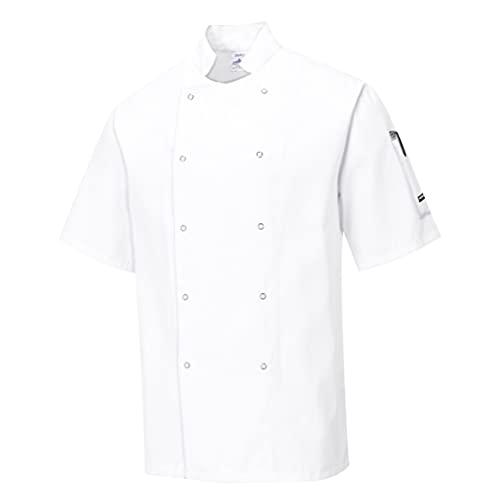 Portwest Chaqueta de Chef Cumbria, Color: Blanco, Talla: M, C733WHRM