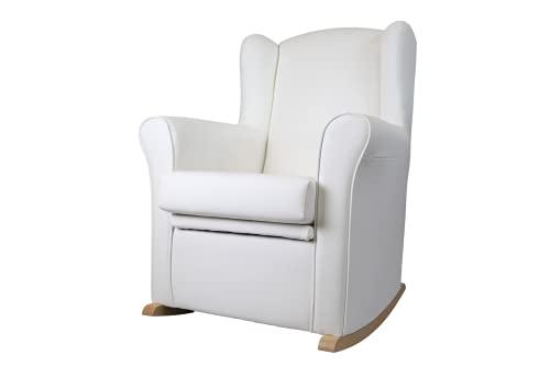 Stillsessel mit Schaukeltruhe Nerea, Ohrenschaukelstuhl mit Truhe gepolstert Kunstleder für Wohnzimmer oder Babyzimmer (weiß)