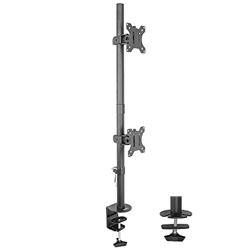 VIVO Dual LCD Monitor Desk Mount Stand Heavy Duty Stacked, Holds Vertical 2 Screens up to 32' (STAND-V002T)
