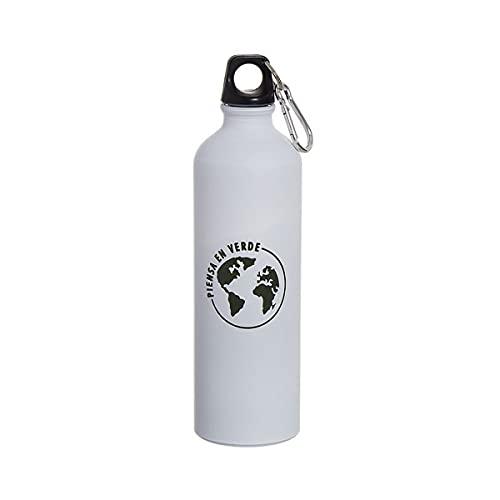 Botella de agua de aluminio para deporte ligero 100 gramos 750 ml, con tapa de seguridad y mosqueton, Libre de BPA, para gym, viaje, ciclista, camping (Blanco (Tierra))