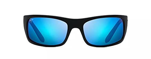 Maui Jim Peahi w/ Patented PolarizedPlus2 Lenses Polarized Lifestyle Sunglasses, Black Matte Rubber/Blue Hawaii Polarized, Large
