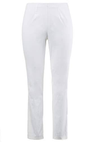 Ulla Popken Damen große Größen bis 68, Hose, Businesshose, Stoffhose, Bengalin-Hose, sehr elastisch, knitterarm weiß 52 615444 20-52