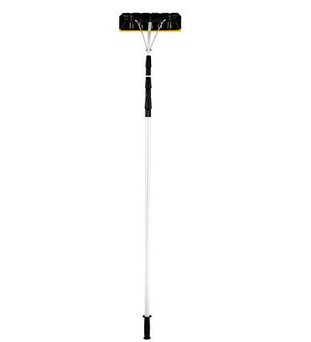 ZJDU Einstellbarer Dachschwader,Mit Verstellbarem Teleskopgriff - Leichte Langlebige Multi-Tool Rake,Aluminium,Einstellbereich 193-640Cm,Für Schnee-, Laub- Und Schmutzentfernung